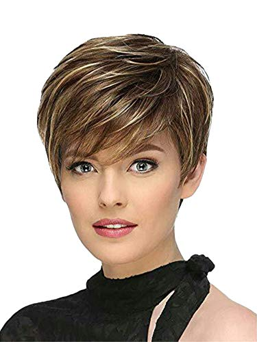 Andongnywell Layered Short Fluffy Brown Blonde Wigs for White Black Womens Synthetic Hair Hairpiece (Brown Gold,One Size,)