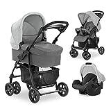 Hauck Shopper Trio Set 3 in 1 Kinderwagen bis 25 kg + Babyschale + Babywanne mit Matratze ab Geburt, Buggy mit Liegefunktion, Getränkehalter, leicht, klein faltbar - grau