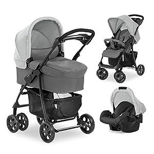 Hauck Shopper Trio Set silla de paseo 3en1 hasta 25 kg + grupo 0+ y capazo de bebé con colchón desde el nacimiento, silla de paseo con respaldo reclinable, portavasos, ligero, plegado pequeño - gris