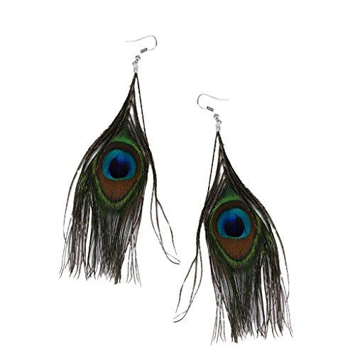 Harilla 1 Par de Pendientes Colgantes de Moda de Plumas Multicolores de Pavo Real