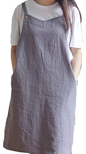Delantal de cocina ajustable estilo japonés de lino de algodón con 2 bolsillos Pinafort, chef, cintura, peluquería, se adapta para parrilla, barbacoa, pintura cruzada espalda H correas de hombro