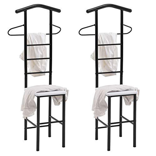 CARO-Möbel Herrendiener JIVO Kleiderständer Garderobenständer im 2er-Set, Metall schwarz und MDF in Weiss