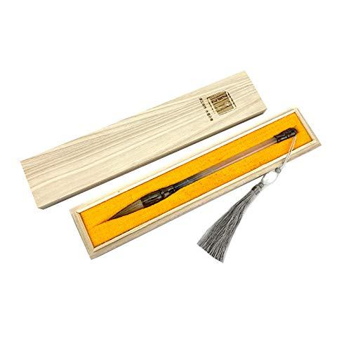 Suministros de oficina Cepillo de caligrafía china fina, cepillo de sumi, cepillo japonés de caligrafía Sumi, barra de pluma de jade de imitación, paquete de regalo (color de pelo de lobo)