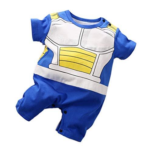 YEMOCILE Dragon Ball Z Design Baby Boys Girls Pagliaccetto Cosplay Costume Goku Ispirato Body Pigiama Bambino Tutine Vestiti (Blu2, 3-6 mesi)