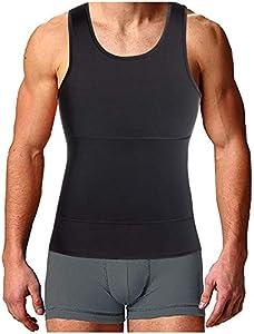 Bingrong Faja Reductora para Hombre Chaleco Adelgazante para Hombre Camiseta elástica para Abdomen Ropa Interior Reductora (Negro, Medium)
