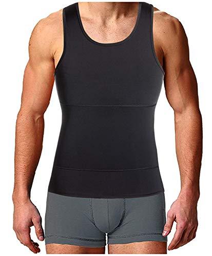 Bingrong Faja Reductora para Hombre Chaleco para Hombre Camiseta elástica para Abdomen Ropa Interior Reductora (Negro, Large)