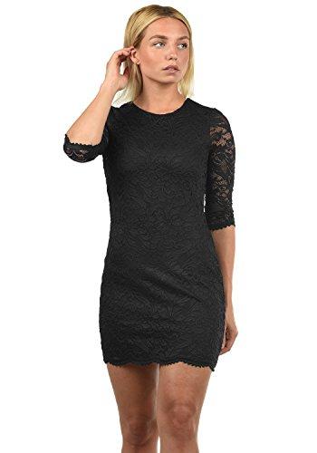VERO MODA Ewelina Damen Etuikleid Mit Spitze Abendkleid Mit Rundhals-Ausschnitt Elastisch, Größe:M, Farbe:Black