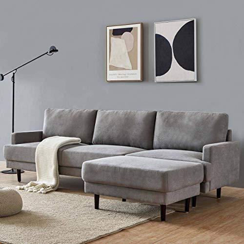 Stoff 3-Sitzer Ecksofa L-förmiges Sofa beweglicher Fußhocker Komfortschwamm gefüllter Sitz großer Raum...