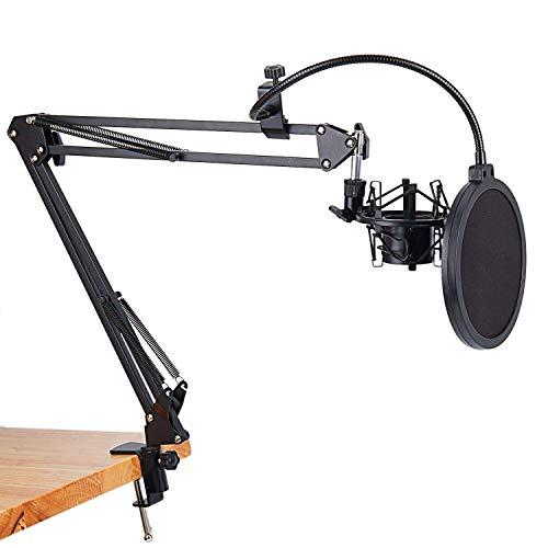 CLJ QWER Mikrofon-Scherenarmständer und Tischmontageklemme & NW-Filter Windschutzscheibenschutz &...