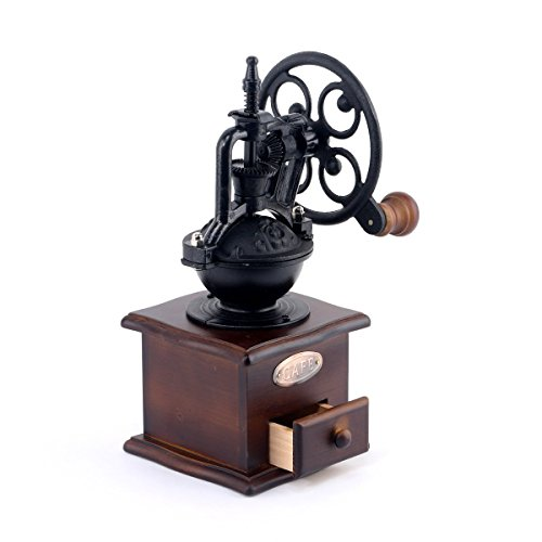 Manuel Moulin à café antique en fonte à manivelle Moulin à café avec les paramètres de Grind & Catch tiroir 12.5 x 12.5 x 26 cm
