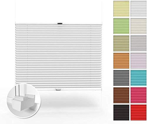 Home-Vision Premium Plissee nach Maß, ohne Bohren mit Klemmträger, Blickdicht Jalousie für Fenster & Tür Sonnenschutzrollo (Weiß, B71-80cm x H101-150cm)