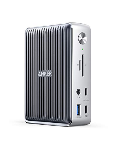 Anker PowerExpand Elite 13-in-1 Thunderbolt 3 Docking Station für USB-C Laptops, Laden mit 85W für Laptop, mit 18W für Smartphone, 4K HDMI, 1Gbps Ethernet, Audio, USB-A Gen 1, USB-C Gen 2, SD 4.0