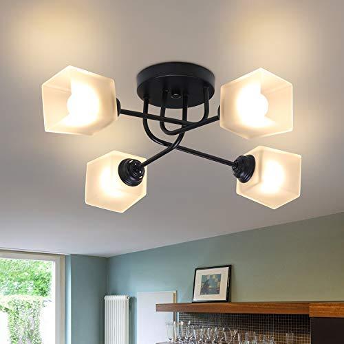 CBJKTX Deckenleuchte Vintage Weiß Deckenlampe aus Glas und Metall E27 4 Flammig Wohnzimmerlampe Kronleuchter Schlafzimmerlampe Esstischlampe Flurlampe Deckenbeleuchtung Innen(ohne Leuchtmittel)