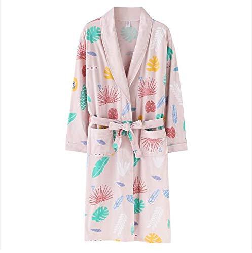 Pijamas de Manga Larga Tallas Grandes L-3xl Bata de algodón Bata deMujer Batas de Mujer Ropa de Dormir de Manga Larga para Mujer Pijamas Albornoz para Mujer Camisones XXL