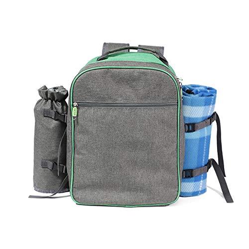 WLOWS 4 Person Picnic Backpack Hamper Cooler Bag con Juego De Mesa Y Manta,A