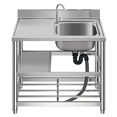 Commercial Kitchen Sink, Single Sink Three-Layer Storage Rack, Portable Dining Sink, freestanding Practical Sink, for Garage bar/B / 80cm×50cm×85cm