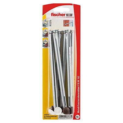 Fischer Fensterrahmendübel F 10 M 152 K SB-Karte, Inhalt: 6 x Metallrahmendübel, 6 x Abdeckkappe weiß/dunkelbraun, 088683