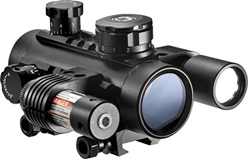 BARSKA AC11398 Multi-Rail 1x30 Sight with Flashlight & Red Laser Cross Dot Reticle, Black