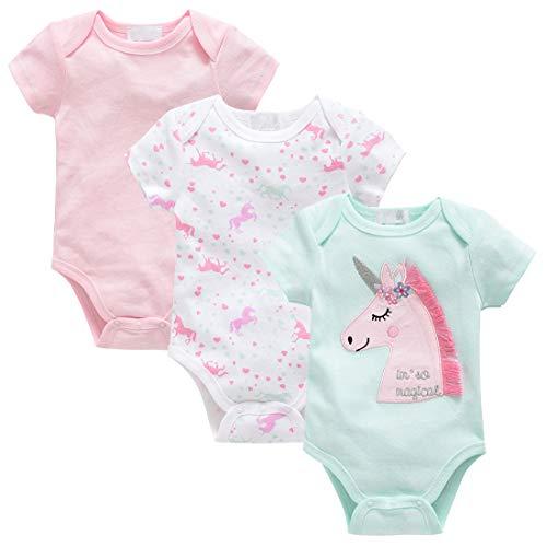kavkas Baby-Body, niedlich, kurzärmelig, Einteiler, weiche Baumwolle, Unterhemd für Kleinkinder, Kleinkinder, Jungen und Mädchen, 3er-Pack (0-12 Monate) Gr. 0-3 Monate, Einhorn-Sets