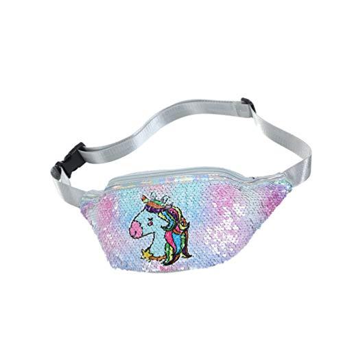 SOIMISS Riñonera para Niñas Bolsa de Cinturón Unicornio Bolsa de Cintura de Moda Brillante PU Bolsa de Deporte Cruzada Bolsa para Niñas Niños