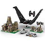 WWEI Maqueta espacial de Battle on Takodana, 812 piezas, Star Wars Kylo Rens Shuttle & Mazs Castle & X-Wing, TIE Fighter, minifigura de sujeción, compatible con Lego 75139