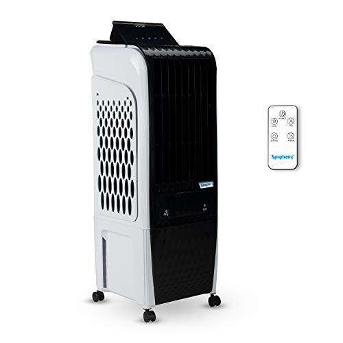 Symphony Diet 3D 20i Personal Tower Air Cooler 20 Litres, with Magnetic Remote, 3-Side Cooling Pads, Pop-up Touchscreen (Black & White)