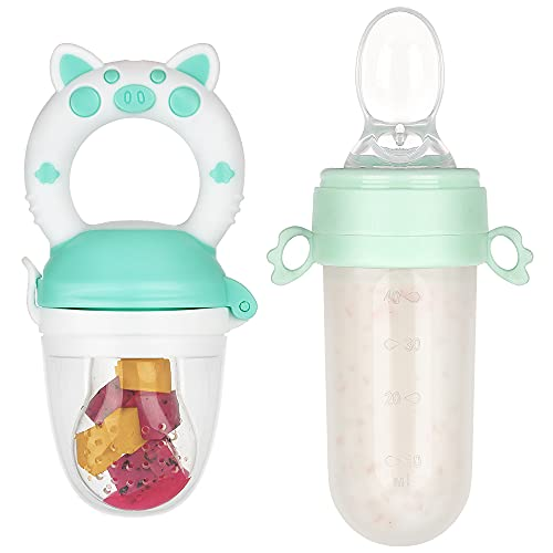 Eco inspired Baby Feeder & Spoon Feeder Set - Fresh Food Feeder Infant Teething Toys, Silicone Bottle Squeeze Baby Spoon Feeder, Fruit Pacifier for 3 Months+