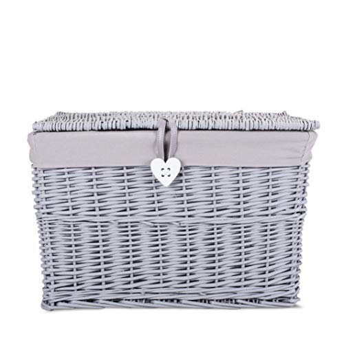 BASIC HOUSE Grey Painted Wicker Trunk Storage Chest Hamper Basket Box Removable Lining (Large)
