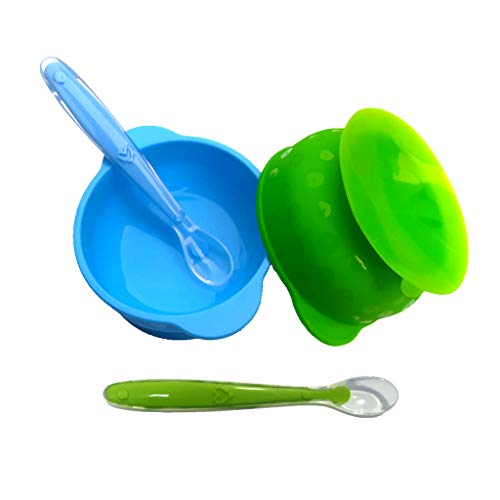 Tazones Silicona con ventosa para Bebés o Niños infantil,ventosa Cuenco y Cuchara de silicona,Antideslizante, Sin BPA, Apto para Microondas y Lavavajillas,Alimentación vajilla