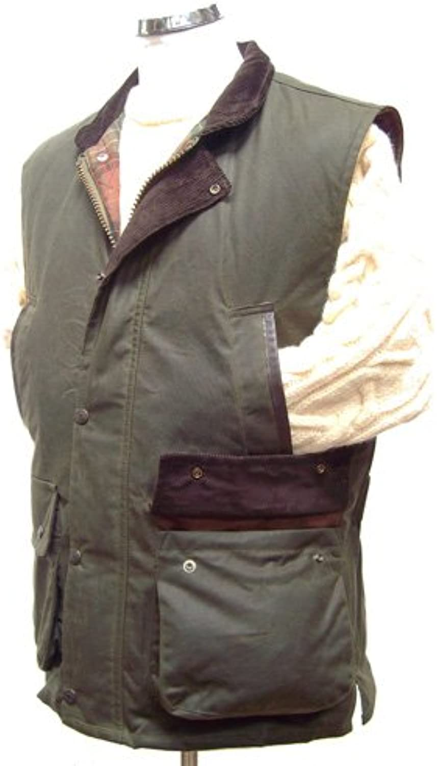 Hunter Outdoor Derwent Luxury Shooting Wax Gilet with real Leather Trim