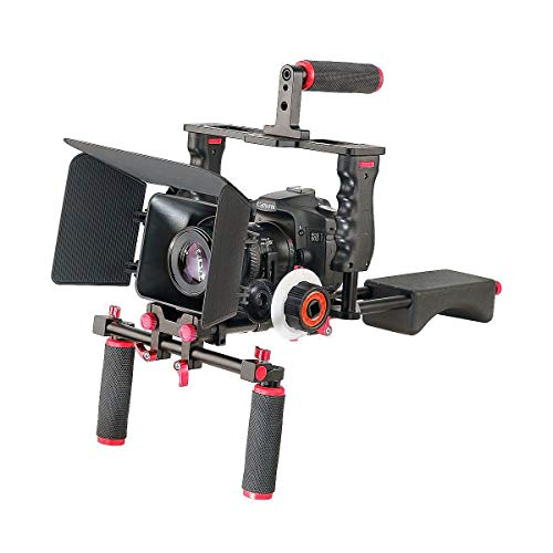 Aluminum Film Movie Kit System Rig Compatible with Canon/Nikon/Pentax/Sony and other DSLR Camera,includes:(1)Video Cage+(1)Top Handle Grip+(2)15mm Rod+(1)Matte Box+(1)Follow Focus+(1)Shoulder Rig