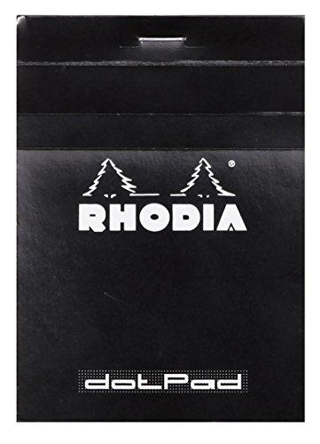 Rhodia 12559C - Diario (80 hojas micro-perforadas desmontables, rejilla gris claro con intervalos de 5 mm entre puntos, 80 gsm, 8,5 x 12,0 cm), color negro