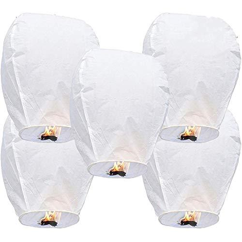 CRTO Paquete de 20 farolillos Chinos Blancos, farolillos navideños ecológicos, año Nuevo, año Nuevo Lunar, 100% Biodegradable, farolillos celestes de Regalo, Color Blanco