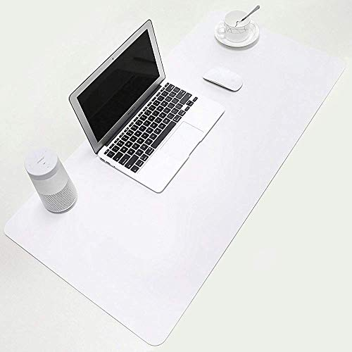 """BUBM Desk Pad Office Desktop Protector 31.5"""" x 15.7"""", PU Leather Desk Mat Blotters Organizer Mouse Pad with Comfortable Writing Surface-White"""