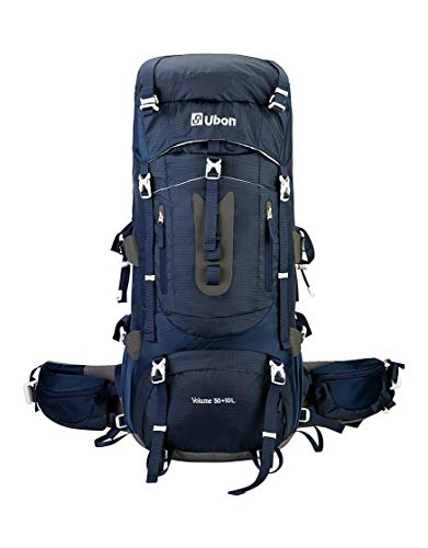 Ubon Framed Hiking Backpack 60L Backpack Internal Frame for Adult with Rain Cover Blue