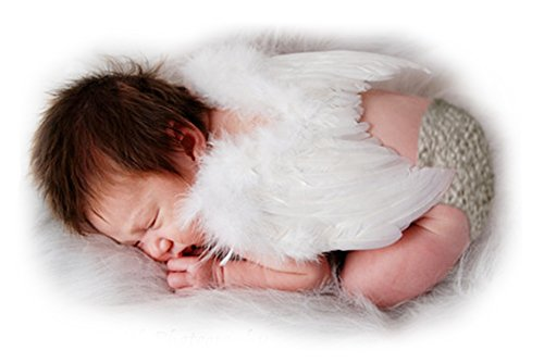 FashionWings (TM White Feather Angel Wings & Halo for Newborn 0-6 Mo Babies