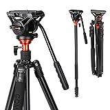 Fluid Head Tripod, COMAN Video Camera Tripod Monopod Aluminium Alloy 70.8 inch for Canon Nikon Sony DSLR Camera