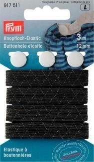 Gold Zack Gummi, Knopfloch-Elastic, 12mm, + 3Knöpfe, schwarz