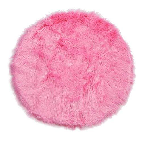 Depskin Area Rug Indoor Soft Fluff Alfombra para dormitorio, pista, sofá, armario, salón, 3 x 3 patas redondas, rosa y rojo