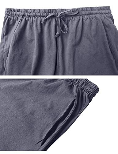 Aibrou Pantalon Pijama Corto Hombre Salón Pantalones Cortos Elástico Verano de 100% Algodon, Pack 1&2