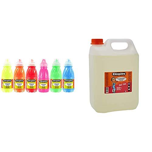Cleopatre - PGN250x6F - Pack de 6 frascos de pintura guache, 250 ml, fluorescente + Cola Transparente 5kg