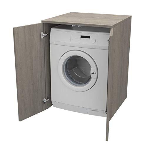 Ve.Ca. Mobile Coprilavatrice con ante, realizzato in legno, copri lavatrice/asciugatrice, diversi colori, anche su misura, lavanderia bagno arredo casa (Rovere grigio)
