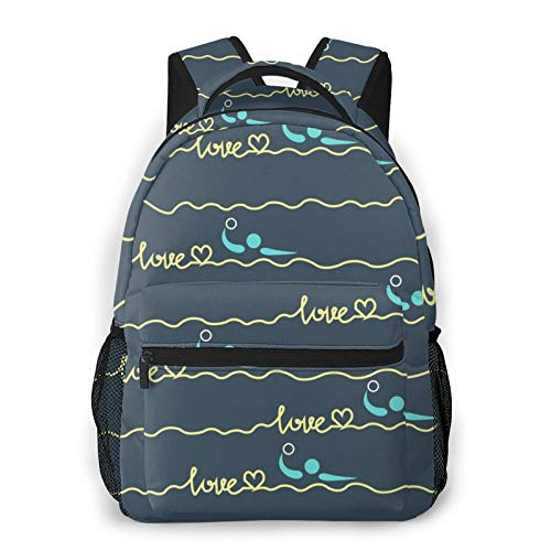 Casual Backpack Large Capacity Multipurpose Anti-Theft Carry-On Bag Backpack for Hiking Outdoors Running - Love Water Polo Heart Best Mom Gift Prints, Boys Girls Student Gift, Travel Daypack