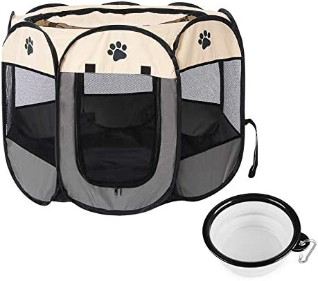 FOVIUPET Pet Dog Playpen Foldable Puppy Playpen 8 Panel Mesh Cover Playground Open Air Waterproof product image