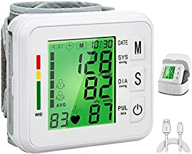 Topffy Blood Pressure Monitor, 99*2 Reading Memory Wrist Digital BP Cuff Automatic BP Machine Large Tri-Backlit Rechargeable Pulse Rate Monitoring Meter Wrist Blood Pressure Monitor for Home Use