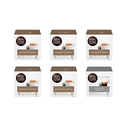 Nescafé Dolce Gusto Essenza di Moka 5 Confezioni, Espresso Barista 1 Confezione (96 Capsule)