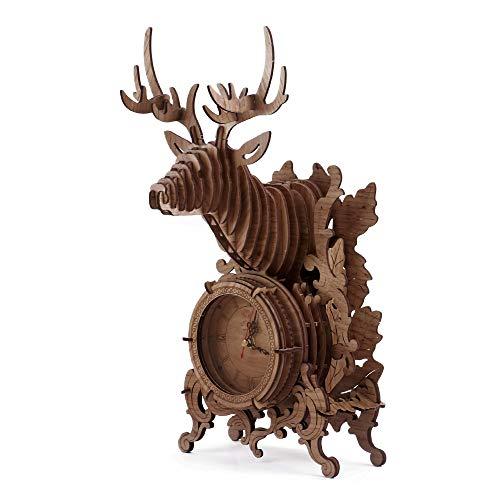 Amy&Benton 3D Holzpuzzle Uhr, Laserschnitt Hölzerne Modellbausatz Erwachsene, Tischuhr Modellbau - Dunkel