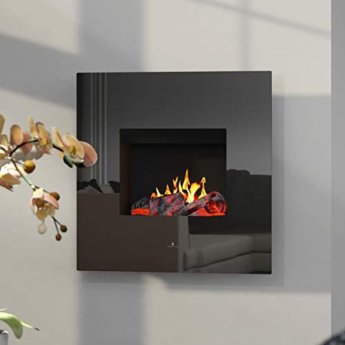 Noble Flame Orion Opti-Myst Elektrische open haard wandhaard - verwarming afstandsbediening decoratief hout - glazen klep zwart hoogglans - achterwand zwart spiegelend