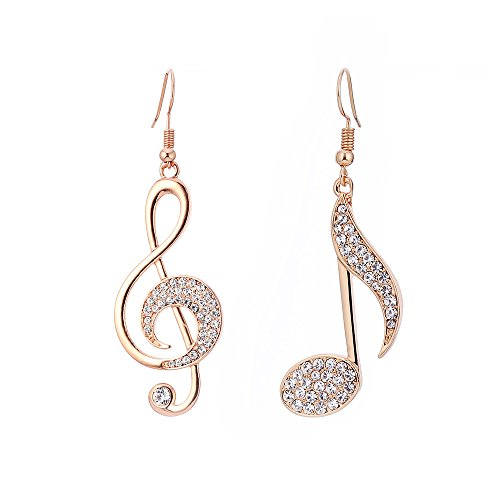 hkwshop Orecchini per Donna Elegante Temperamento Diamond-borthing Note Orecchini per Note Musical Moda Creativa Asimmetrici Hooks Orecchini a Bottone (Type : B)