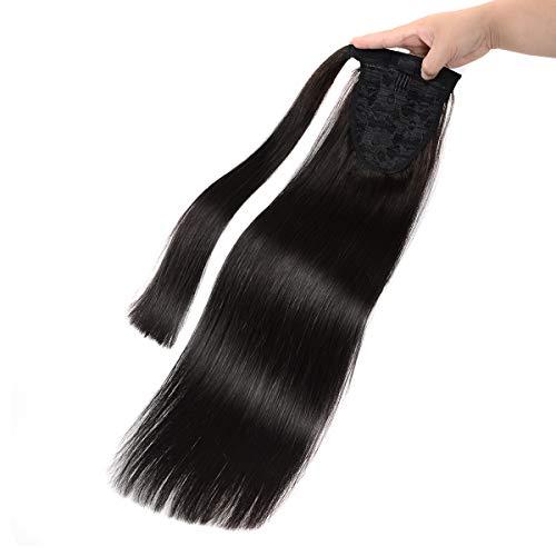 Isheeny Coda Capelli Veri Clip Extension 35cm Nero Scuro Coda di Cavallo Naturali Lisci 100% Human Hair Fascia Unica Ponytail Wrap 60g